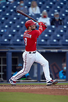 Washington Nationals Carter Kieboom (8) bats during a Major League Spring Training game against the Miami Marlins on March 20, 2021 at FITTEAM Ballpark of the Palm Beaches in Palm Beach, Florida.  (Mike Janes/Four Seam Images)