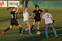 Portland, OR - Sunday March 11, 2018: Ashley Herndon, Alyssa Mautz, Angela Salem during a National Women's Soccer League (NWSL) pre season match between the Portland Thorns FC and the Chicago Red Stars at Merlo Field.