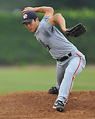 05/16/10, Fullerton Ca.; The Orange County Flyers play a scrimmage in preparation for their 2010 season. Former major league all-star Byung-Hyun Kim was on the mound.