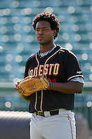 August 24 2008: Nelson Robledo of the Modesto Nuts before game against the Lancaster JetHawks at Clear Channel Stadium in Lancaster,CA.  Photo by Larry Goren/Four Seam Images