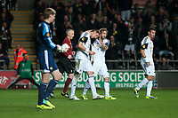 Thursday 24 October 2013  <br /> Pictured: Michu  and Jose Canas celebrate Michu's goal<br /> Re:UEFA Europa League, Swansea City FC vs Kuban Krasnodar,  at the Liberty Staduim Swansea