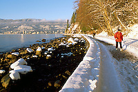 Stanley Park, Vancouver, BC, British Columbia, Canada, Winter - Snow Covered Rocks on Beach and Stanley Park Seawall at English Bay