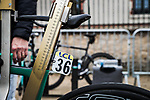 UCI check bike measurements before the start of Stage 4 of the 78th edition of Paris-Nice 2020, and individual time trial running 15.1km around Saint-Amand-Montrond, France. 11th March 2020.<br /> Picture: ASO/Fabien Boukla   Cyclefile<br /> All photos usage must carry mandatory copyright credit (© Cyclefile   ASO/Fabien Boukla)