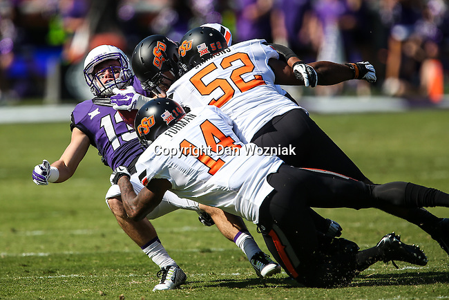 TCU Horned Frogs wide receiver Ty Slanina (13) in action during the game between the OSU Cowboys and the TCU Horned Frogs at the Amon G. Carter Stadium in Fort Worth, Texas. TCU defeated OSU 42 to 9.