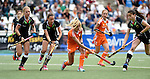 GER - Mannheim, Germany, May 25: During the U16 Girls match between The Netherlands (orange) and Germany (black) during the international witsun tournament on May 25, 2015 at Mannheimer HC in Mannheim, Germany. Final score 1-1 (1-0). (Photo by Dirk Markgraf / www.265-images.com) *** Local caption *** (l-r) Camille Nobis #19 of Germany, Clara Roth #6 of Germany, Leonore Willemsen #10 of The Netherlands, Miloe Jaeger #2 of The Netherlands, Emma Foerter #7 of Germany