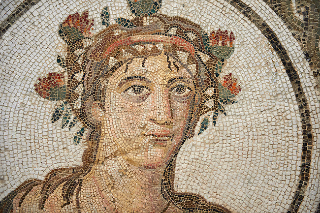 Picture of a Roman mosaics design depicting the Four Seasons, from the ancient Roman city of Thysdrus. 3rd century AD. El Djem Archaeological Museum, El Djem, Tunisia.