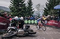 Sebastien Reichenbach (SUI/Groupama - FDJ) avoiding a crashed moto up the infamous Monte Zoncolan (1735m/11%/10km)<br /> <br /> stage 14 San Vito al Tagliamento – Monte Zoncolan (186 km)<br /> 101th Giro d'Italia 2018