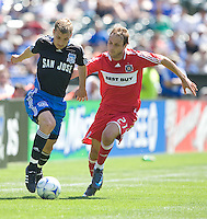 Ronnie O'Brien, left, dribbles by Justin Mapp,.Chicago Fire 1, San Jose Earthquakes 0, Saturday, April 12, 2008 at the Oakland Coliseum, Oakland, California.