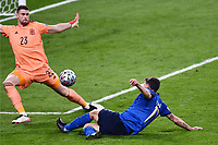 6th July 2021; Wembley Stadium, London, England; Euro 2020 Football Championships semi-final, Italy versus Spain;  Domenico Berardi sees his shot saved by Simón of Spain