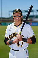 Bradenton Marauders Mason Martin (47) poses for a photo after a Florida State League game against the St. Lucie Mets on July 28, 2019 at LECOM Park in Bradenton, Florida.  Bradenton defeated St. Lucie 7-3.  (Mike Janes/Four Seam Images)