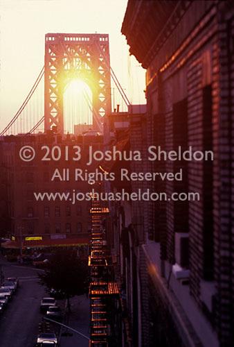 Sunset through the George Washington Bridge<br />