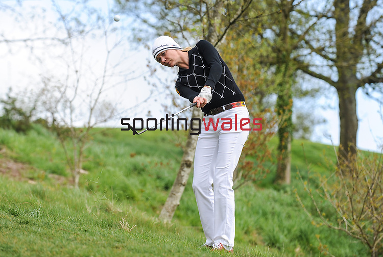 Englands Jodie Kidd hits a shot out of the rough..Celebrity Cup at Golf Live  - Celtic Manor Resort - Friday 10th  May  2013 - Newport ..© www.sportingwales.com- PLEASE CREDIT IAN COOK