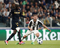 Football Soccer: UEFA Champions League semifinal second leg Juventus - Monaco, Juventus stadium, Turin, Italy,  May 9, 2017. <br /> Juventus' Miralem Pjanic (r) in action with Monaco's Tiemoué Bakayoko (l) during the Uefa Champions League football match between Juventus and Monaco at Juventus stadium, on May 9, 2017.<br /> UPDATE IMAGES PRESS/Isabella Bonotto