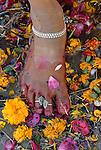 Detail of a pilgrims foot at the Kumbh Mela Festival, Allahabad, India