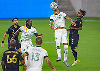 LOS ANGELES, CA - SEPTEMBER 13: Julio Cascante #18 of the Portland Timbers with a nice head ball during a game between Portland Timbers and Los Angeles FC at Banc of California stadium on September 13, 2020 in Los Angeles, California.