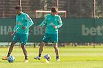 22.09.2020, Trainingsgelaende am wohninvest WESERSTADION - Platz 12, Bremen, GER, 1.FBL, Werder Bremen Training<br /> <br /> <br /> Theodor Gebre Selassie (Werder Bremen #23)<br /> Yuya Osako (Werder Bremen #08)<br /> Querformat  ,Ball am Fuss, <br /> <br /> <br /> Foto © nordphoto / Kokenge