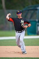 Miami Marlins Aaron Blanton (18) during practice before a minor league Spring Training intrasquad game on March 31, 2016 at Roger Dean Sports Complex in Jupiter, Florida.  (Mike Janes/Four Seam Images)