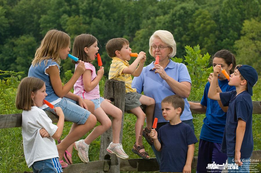 Grandmother with seven grandchildren eating popsicles.