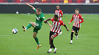 Emil Riis Jakobsen of Preston North End controls the ball under pressure from Brentford's Ethan Pinnock during Brentford vs Preston North End, Sky Bet EFL Championship Football at the Brentford Community Stadium on 4th October 2020