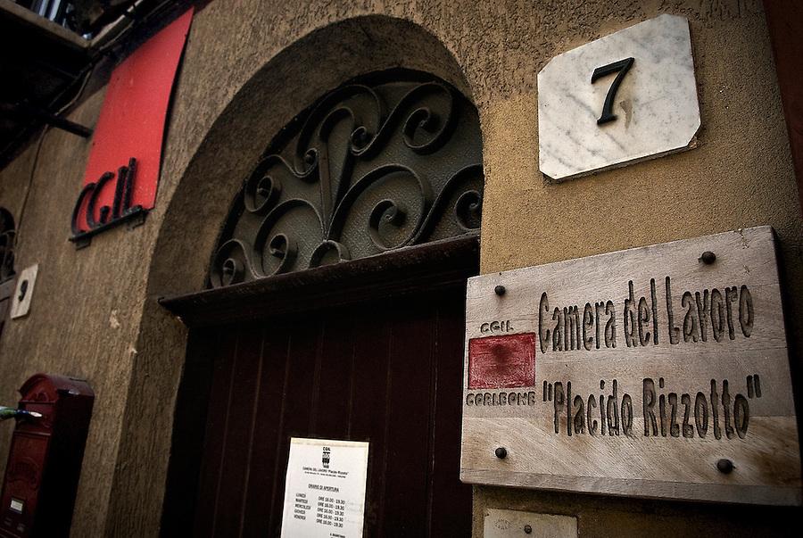 The labour syndicate in Corleone, named after the famous trade union leader Placido Rizzotto who was killed by the mafia in 1948. / La Camera del Lavoro di Corleone intitolata a Placido Rizzotto.