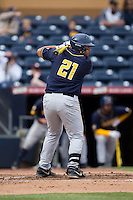 Brenden Farney (21) of the California Golden Bears at bat against the Duke Blue Devils at Durham Bulls Athletic Park on February 20, 2016 in Durham, North Carolina.  The Blue Devils defeated the Golden Bears 6-5 in 10 innings.  (Brian Westerholt/Four Seam Images)