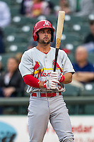 Memphis Redbirds second baseman Greg Garcia (5) at bat during Pacific Coast League game against the Round Rock Express on April 21, 2015 at the Dell Diamond in Round Rock, Texas. Round Rock defeated Memphis 2-1. (Andrew Woolley/Four Seam Images)