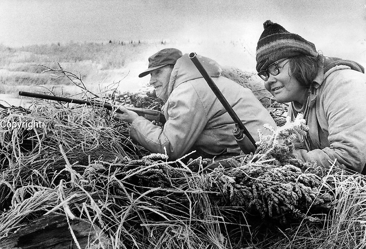 1972 FILE PHOTO - ARCHIVES -<br /> <br /> The cree of the James Bay area have one of the last non-dependent native cultures in North America. Opponents of the James Bay electric project say it will destroy some of the fish and animals that hunters like Frank Ludick (left); and Andrew Napash depend on for food.<br /> <br /> PHOTO :  Keith  BEATY  - Toronto Star Archives - AQP