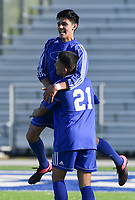 NWA Democrat-Gazette/CHARLIE KAIJO Rogers High School Paco Jimenez (10) reacts after a score during a soccer game, Friday, April 26, 2019 at  Whitey Smith Stadium at Rogers High School in Rogers.
