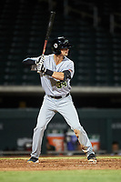 Peoria Javelinas Jared Oliva (34), of the Pittsburgh Pirates organization, at bat during an Arizona Fall League game against the Mesa Solar Sox on September 21, 2019 at Sloan Park in Mesa, Arizona. Mesa defeated Peoria 4-1. (Zachary Lucy/Four Seam Images)