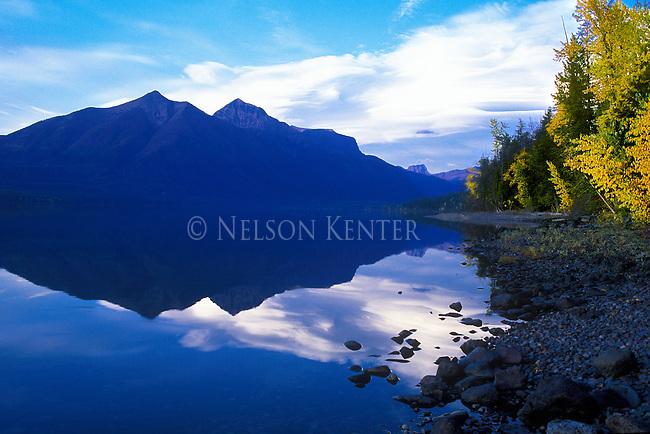 Lake MacDonald and shore line in Glacier National Park