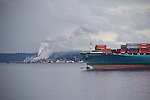 container ship, MOL Magnificence, Puget Sound, Port Townsend, Washington State, Pacific Northwest,