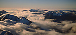 Aerial of cloud covered Southern Alps. Mount Cook National Park New Zealand.