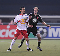 New York Red Bulls forward Juan Pablo Angel (9) chests the ball while covered by DC United defender Bryan Namoff (26), DC United tied The New York Red Bulls 0-0, at RFK Stadium in Washington DC, Saturday August 30, 2008.