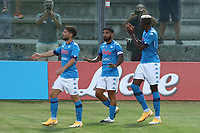 Victor Osimhen of SSC Napoli celebrates with Lorenzo Insigne and Dries Mertens  after scoring a goal<br /> during the friendly football match between SSC Napoli and L Aquila 1927 at stadio Patini in Castel di Sangro, Italy, August 28, 2020. <br /> Photo Cesare Purini / Insidefoto