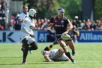 Schalk Brits of Saracensoffloads after evading the tackle attempt of Joe Launchbury of Wasps as Christian Wade of Wasps supports during the Aviva Premiership Rugby semi final match between Saracens and Wasps at Allianz Park on Saturday 19th May 2018 (Photo by Rob Munro/Stewart Communications)