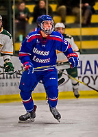19 January 2018: University of Massachusetts Lowell Riverhawks Forward Chris Schutz, a Redshirt Freshman from Keller, Texas, in first period action against the University of Vermont Catamounts at Gutterson Fieldhouse in Burlington, Vermont. The Riverhawks rallied to defeat the Catamounts 3-2 in overtime of their Hockey East matchup. Mandatory Credit: Ed Wolfstein Photo *** RAW (NEF) Image File Available ***
