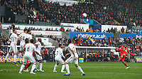 Daniel Sturridge of Liverpool shoots over the crossbar from a free kick during the Barclays Premier League match between Swansea City and Liverpool played at the Liberty Stadium, Swansea on 1st May 2016
