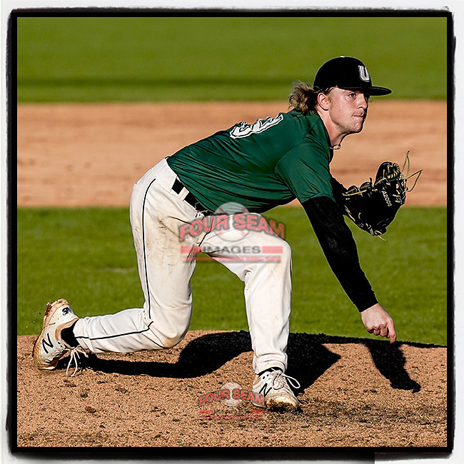 Eben Heine (39) of the University of South Carolina Upstate Spartans Green team delivers a pitch in the Green and Black Fall World Series Game 3 on Sunday, November 1, 2020, at Cleveland S. Harley Park in Spartanburg, South Carolina. Green won, 3-2. (Tom Priddy/Four Seam Images)