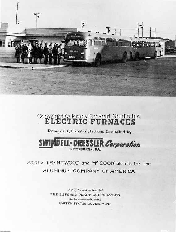 Spokane Washington and McCook Illinois: View of Swindell-Dressler brochure highlighting the Electric Furnaces designed, constructed, and installed in two Alcoa plants during World War II.