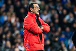 Maurizio Sarri coach of SSC Napoli shouts instructions from the sideline  during the match of Champions League between Real Madrid and SSC Napoli  at Santiago Bernabeu Stadium in Madrid, Spain. February 15, 2017. (ALTERPHOTOS)