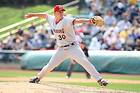 April 11, 2010:  Pitcher Erik Arnesen of the Harrisburg Senators during a game at Blair County Ballpark in Altoona, PA.  Harrisburg is the Double-A Eastern League affiliate of the Washington Nationals.  Photo By Mike Janes/Four Seam Images