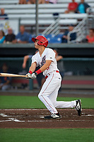 Auburn Doubledays Jeremy Ydens (17) bats during a NY-Penn League game against the Connecticut Tigers on July 12, 2019 at Falcon Park in Auburn, New York.  Auburn defeated Connecticut 7-5.  (Mike Janes/Four Seam Images)