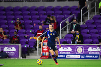 ORLANDO CITY, FL - FEBRUARY 24: Megan Rapinoe #15 of the USWNT dribbles the ball during a game between Argentina and USWNT at Exploria Stadium on February 24, 2021 in Orlando City, Florida.