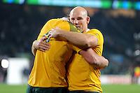 Stephen Moore (R) congratulates Kane Douglas of Australia during Match 26 of the Rugby World Cup 2015 between England and Australia - 03/10/2015 - Twickenham Stadium, London<br /> Mandatory Credit: Rob Munro/Stewart Communications