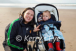 Enjoying a stroll in Rossbeigh beach on Tuesday, l to r: Little Dalton and Louise Daniels.