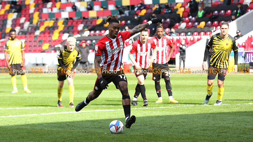 Ivan Toney scores Brentford's second goal from the penalty spot during Brentford vs Watford, Sky Bet EFL Championship Football at the Brentford Community Stadium on 1st May 2021