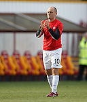 Hamilton manager Alex Neil on the park as he applauds their support at full-time
