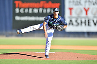 Asheville Tourists starting pitcher Jimmy Endersby (22)  delivers a pitch during a game against the Aberdeen IronBirds on June 17, 2021 at McCormick Field in Asheville, NC. (Tony Farlow/Four Seam Images)