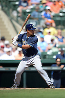 Tampa Bay Rays catcher Luke Maile (67) during a Spring Training game against the Baltimore Orioles on March 14, 2015 at Ed Smith Stadium in Sarasota, Florida.  Tampa Bay defeated Baltimore 3-2.  (Mike Janes/Four Seam Images)