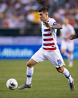 PHILADELPHIA, PA - JUNE 30: Christian Pulisic #10 attacks during a game between Curacao and USMNT at Lincoln Financial Field on June 30, 2019 in Philadelphia, Pennsylvania.